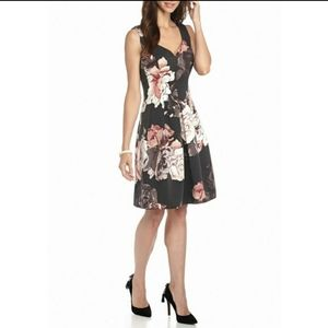 Adrianna Papell floral seamed fit and flare dress